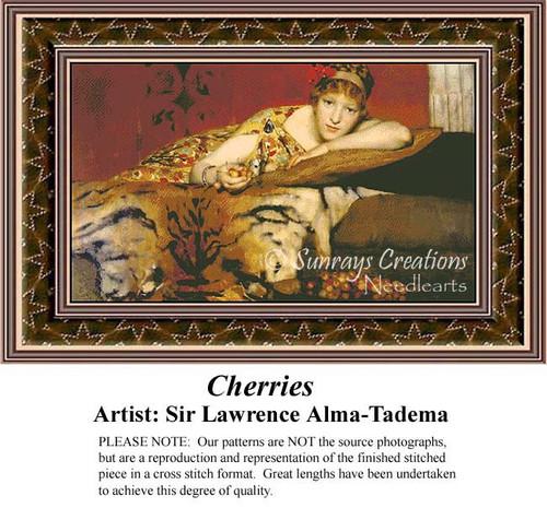 Cherries, Fine Art Counted Cross Stitch Pattern, Women Counted Cross Stitch Pattern