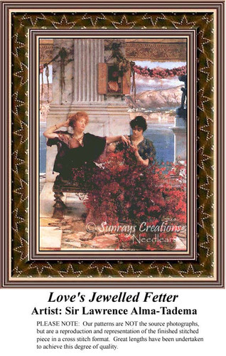 Love's Jewelled Fetter, Fine Art Counted Cross Stitch Pattern
