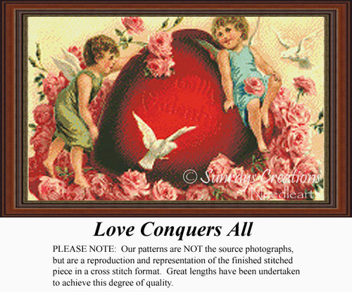Love Conquers All, Vintage Counted Cross Stitch Pattern
