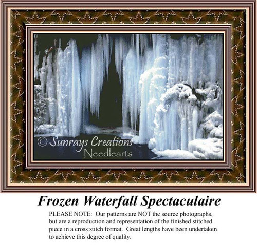 Frozen Waterfall Spectaculaire, Winter Counted Cross Stitch Patterns