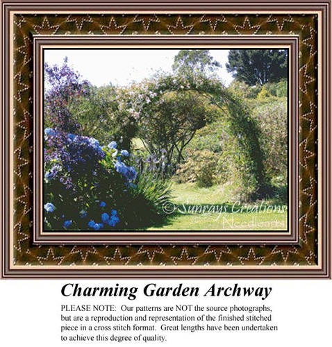 Charming Garden Archway, Alluring Landscapes Counted Cross Stitch Pattern