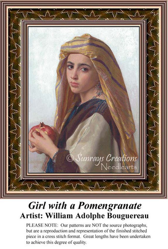 Girl with a Pomegranate, Fine Art Counted Cross Stitch Pattern, Women Counted Cross Stitch Pattern