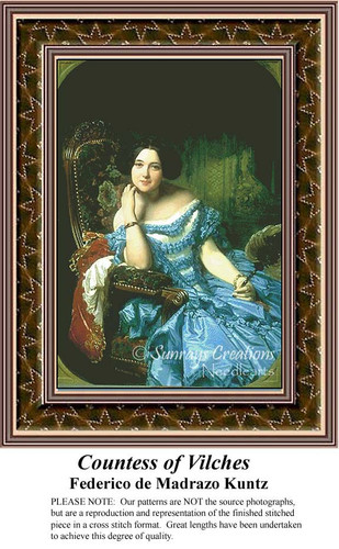 Countess of Vilches, Fine Art Counted Cross Stitch Pattern, Women Counted Cross Stitch Pattern