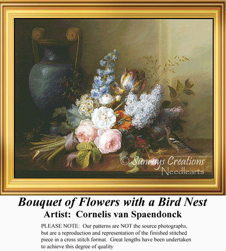 Bouquet of Flowers with a Bird Nest, Flowers Counted Cross Stitch Pattern