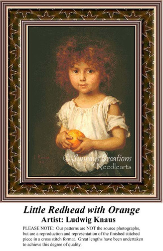 Little Redhead with Orange, Fine Art Counted Cross Stitch Pattern, Children Counted Cross Stitch Pattern