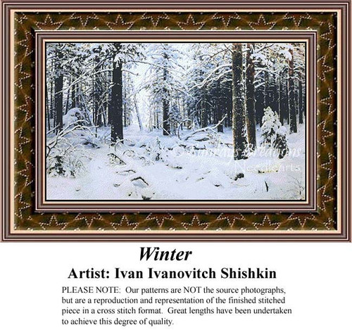 Winter, Fine Art Counted Cross Stitch Pattern, Winter Counted Cross Stitch Pattern