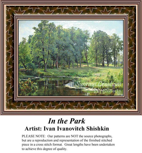 In the Park, Fine Art Counted Cross Stitch Pattern, Alluring Landscapes Counted Cross Stitch Patterns