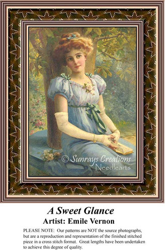 A Sweet Glance, Fine Art Counted Cross Stitch Pattern, Women Counted Cross Stitch Pattern