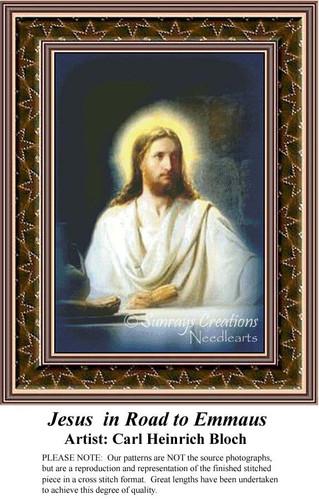 Jesus in Road to Emmaus, Fine Art Counted Cross Stitch Pattern