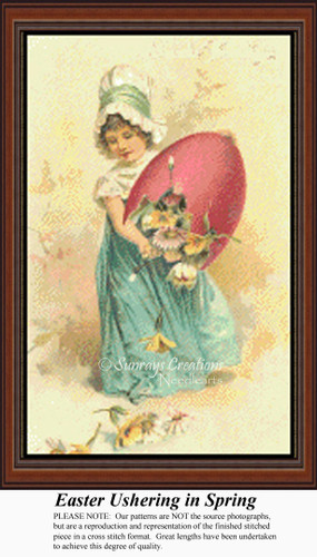 Easter Ushering in Spring, Vintage Counted Cross Stitch Pattern, Spring Counted Cross Stitch Pattern