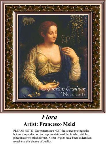 Flora, Fine Art Counted Cross Stitch Pattern, Women Counted Cross Stitch Pattern