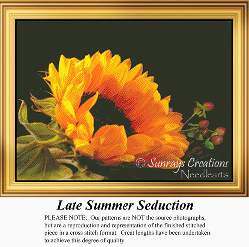 Late Summer Seduction, Flowers Counted Cross Stitch Pattern, Summer Counted Cross Stitch Pattern