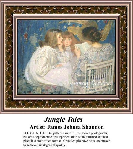 Jungle Tales, Fine Art Counted Cross Stitch Pattern, Children Counted Cross Stitch Pattern