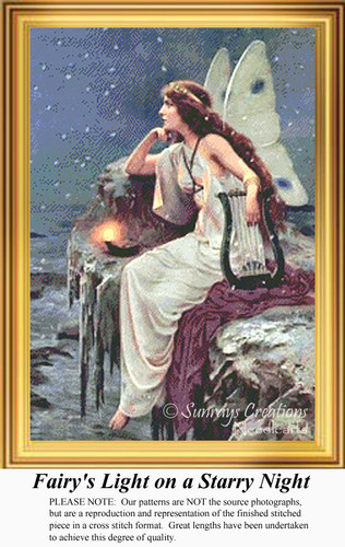 Fairy's Light on a Starry Night, Vintage Counted Cross Stitch Pattern