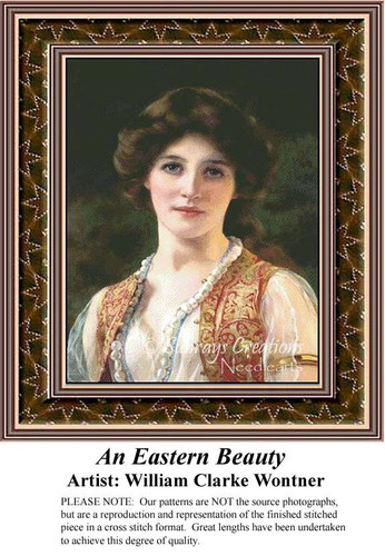 An Eastern Beauty, Fine Art Counted Cross Stitch Pattern, Women Counted Cross Stitch Pattern