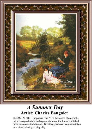 A Summer Day, Fine Art Counted Cross Stitch Pattern, Summer Counted Cross Stitch Pattern