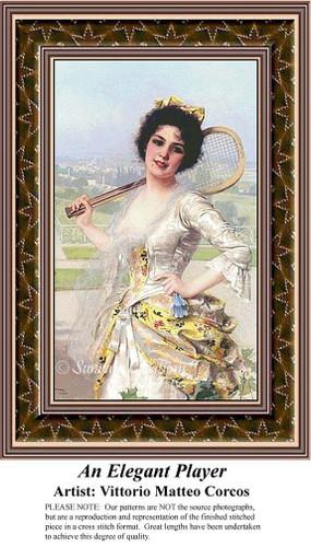 An Elegant Player, Fine Art Counted Cross Stitch Pattern, Women Counted Cross Stitch Pattern