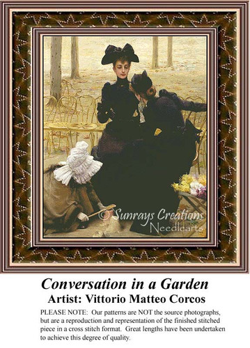Conversations in a Garden, Fine Art Counted Cross Stitch Pattern, Social Counted Cross Stitch Pattern