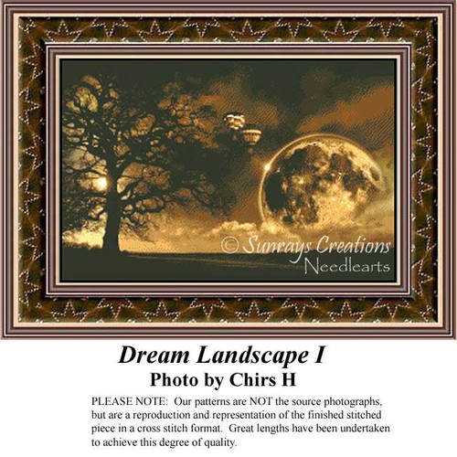 Dream Landscape, Fantasy Counted Cross Stitch Pattern