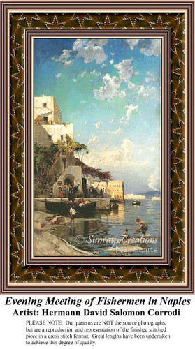 Evening Meeting of Fishermen in Naples, Fine Art Counted Cross Stitch Pattern, Alluring Landscapes Counted Cross Stitch Pattern