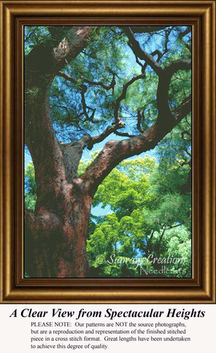 A Clear View from Spectacular Heights, Trees Counted Cross Stitch Pattern