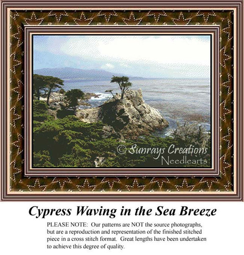 Cypress Waving in the Sea Breeze, Alluring Landscapes Counted Cross Stitch Pattern
