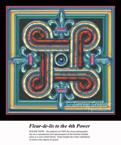 Fleur-de-lis to the 4th Power, Fractal Counted Cross Stitch Pattern