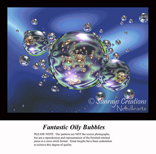 Fantastic Oily Bubbles, Fractal Counted Cross Stitch Pattern