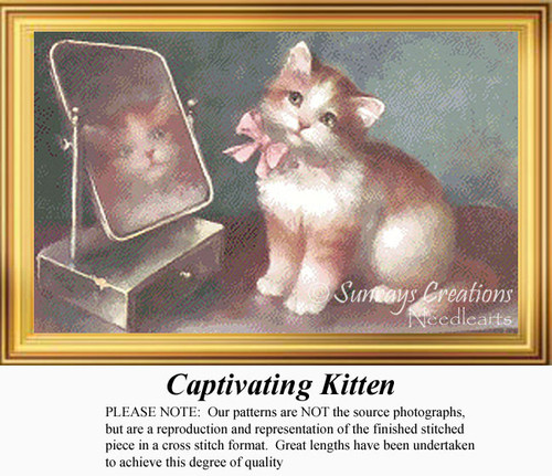 Captivating Kitten, Vintage Counted Cross Stitch Pattern