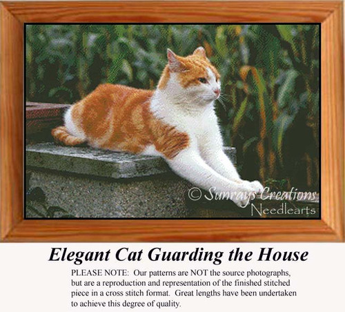 Elegant Cat Guarding the House, Animals Counted Cross Stitch Pattern