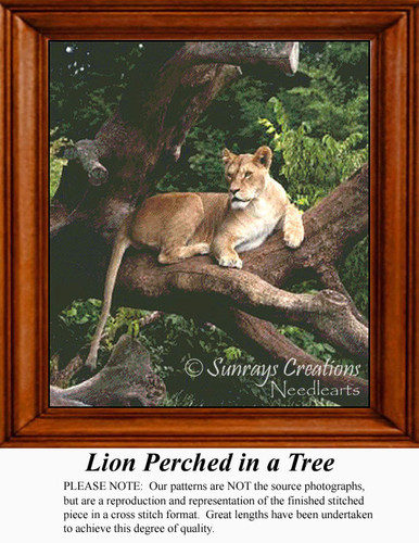 Lion Perched in a Tree, Animals Counted Cross Stitch Pattern