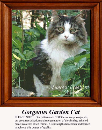 Gorgeous Garden Cat, Animals Counted Cross Stitch Pattern