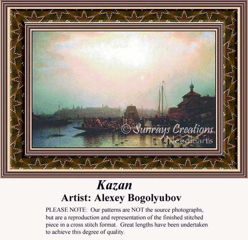 Kazan, Fine Art Counted Cross Stitch Pattern, Waterscapes Counted Cross Stitch Pattern