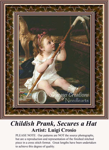 Childish Prank, Secures a Hat, Fine Art Counted Cross Stitch Pattern, Children Counted Cross Stitch Pattern