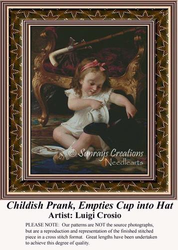 Childish Prank, Empties Cup into Hat, Fine Art Counted Cross Stitch Pattern, Children Counted Cross Stitch Pattern