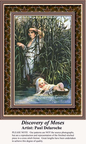 Discovery of Moses, Fine Art Counted Cross Stitch Pattern