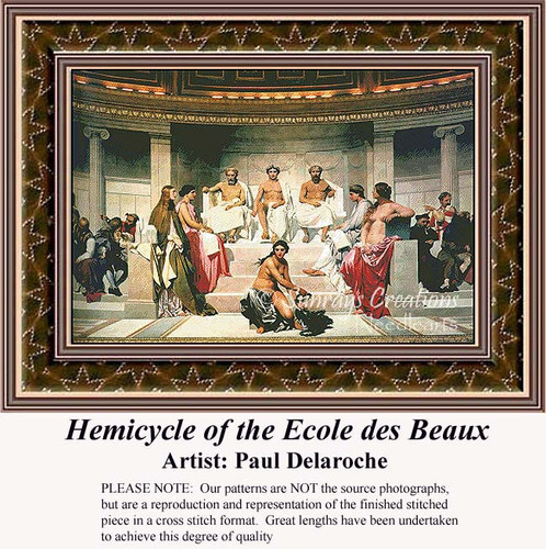 Hemicycle of the Ecole des Beaux, Fine Art Counted Cross Stitch Pattern, Social Counted Cross Stitch Pattern