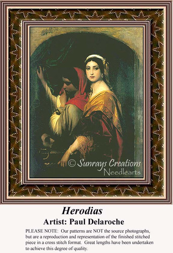 Herodias, Fine Art Counted Cross Stitch Pattern, Women Counted Cross Stitch Pattern