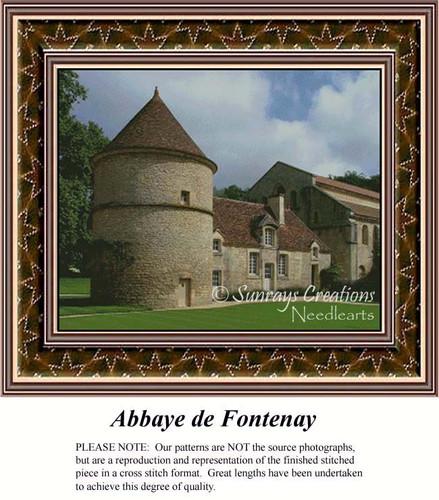 Abbaye de Fontenay, Architecture Counted Cross Stitch Pattern