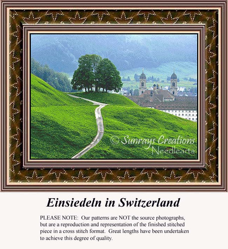 Einsiedeln in Switzerland, Landscapes Counted Cross Stitch Pattern