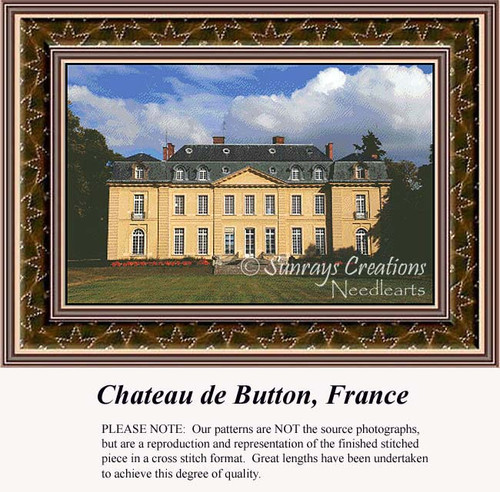 Chateau de Button, France, Architecture Counted Cross Stitch Pattern