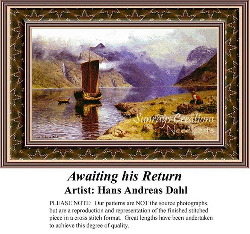 Awating His Return, Waterscapes Counted Cross Stitch Patterns, Fine Art Counted Cross Stitch Pattern