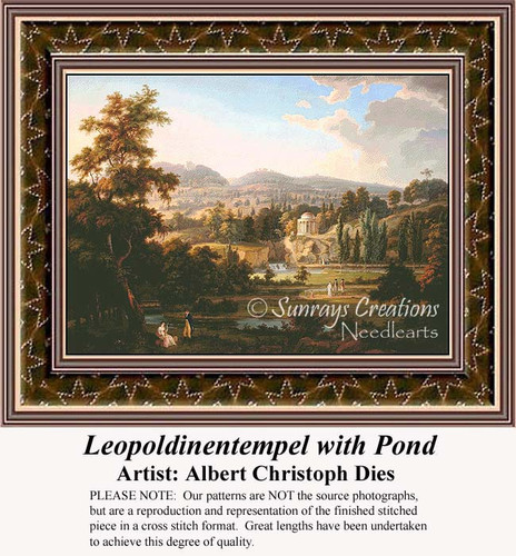 Leopoldinentempel with Pond, Fine Art Counted Cross Stitch Pattern