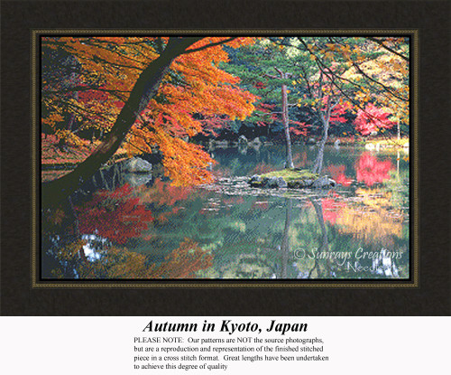 Autumn in Kyoto, Japan, Alluring Landscapes Counted Cross Stitch Pattern, Fall Counted Cross Stitch Pattern