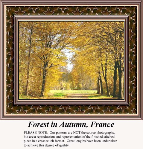 Forest in Autumn, France, Landscapes Counted Cross Stitch Pattern, Fall Counted Cross Stitch Pattern