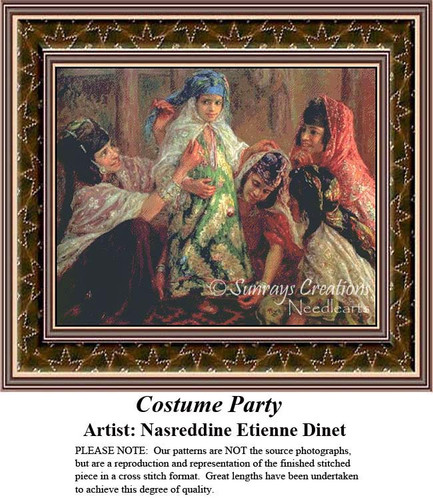Costume Party, Fine Art Counted Cross Stitch Pattern, Social Counted Cross Stitch Patterns