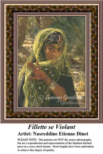 Fillette se Violant, Fine Art Counted Cross Stitch Pattern, Women Counted Cross Stitch Pattern