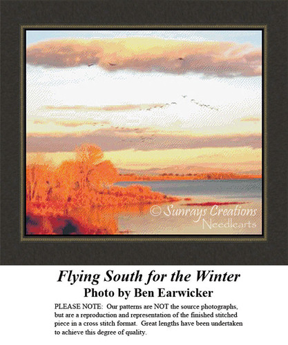 Flying South for the Winter, Landscapes Counted Cross Stitch Pattern, Winter Counted Cross Stitch Pattern