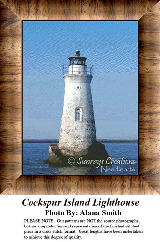 Cockspur Island Lighthouse, Lighthouse Counted Cross Stitch Pattern