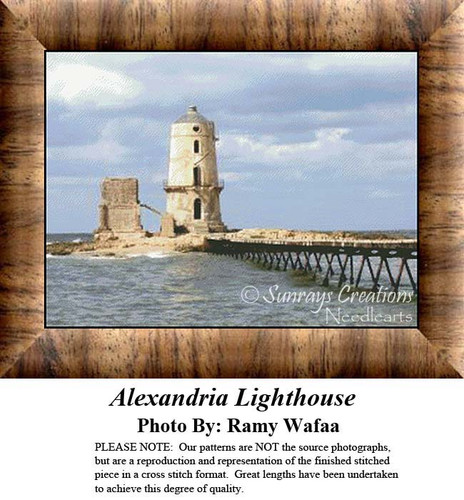 Alexandria Lighthouse, Lighthouse Counted Cross Stitch Pattern